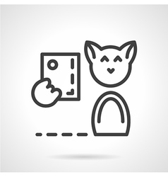 Abstract simple line cat with phone icon vector