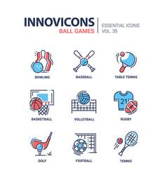 Ball games - modern line design icons set vector