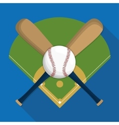 Ball league and bat of baseball sport design vector