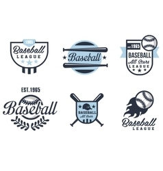 Baseball emblems or badges with various designs vector