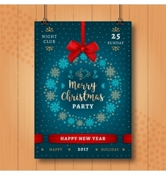 Christmas and Happy New Year night party poster vector image
