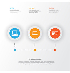 computer icons set collection of laptop monitor vector image vector image