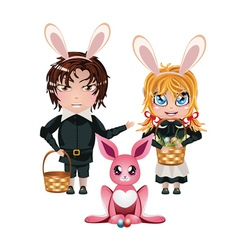 Easter Boy and Girl3 vector image