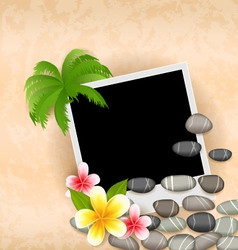 Exotic natural background with empty photo frame vector