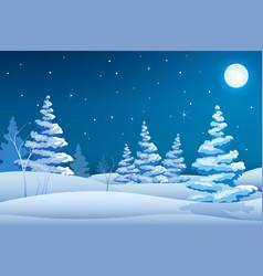 fairy night winter landscape template vector image