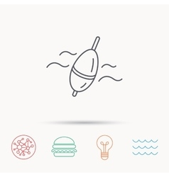 Fishing float icon Bobber in waves sign vector image vector image