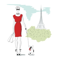 girl wiht dog in Paris vector image vector image