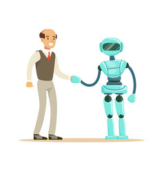 Humanoid robot shaking hand with businessman vector