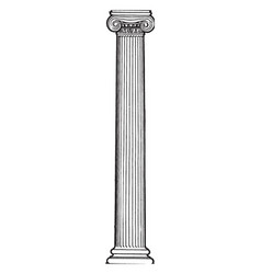 Ionic column stand vintage engraving vector