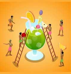 Isometric people making summer cocktail vector