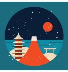 Japan travel background pagoda torii mountain fuji vector
