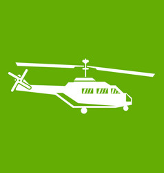 Military helicopter icon green vector