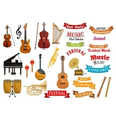 Musical instruments music ribbon emblems vector image vector image
