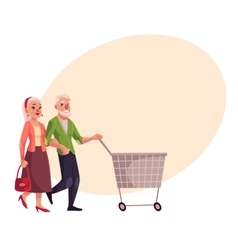 Old senior elder couple shopping together vector image vector image