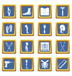 Orthopedics prosthetics icons set blue vector