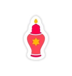 Paper sticker on white background hanukkah candles vector