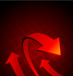 red graph arrows vector image
