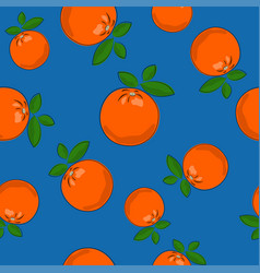 Seamless pattern orange on blue background vector
