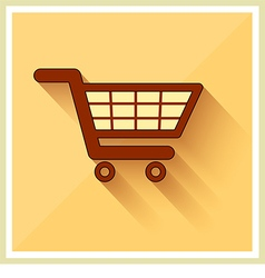 Shopping Cart Icon on Retro Yellow Background vector image