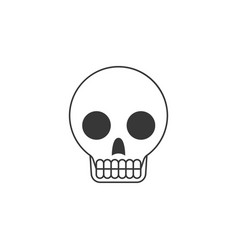 skull outline icon with teeth vector image