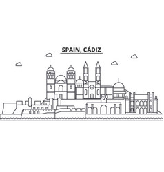 Spain cadiz architecture line skyline vector