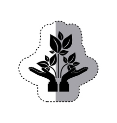 Sticker silhouette of hands holding a branch with vector