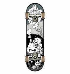 Strange graffiti skateboard vector