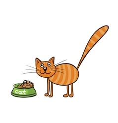 Striped red cat with a bowl of food vector image