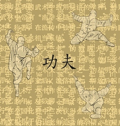Three men are occupied with a kung fu vector