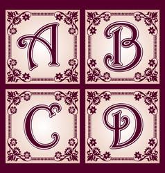 vvintage alphabet Part 1 vector image vector image