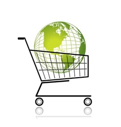 Green globe in shopping cart for your design vector image