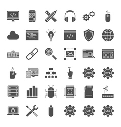 Programming solid web icons vector