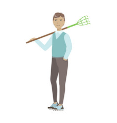 Man holding rake on his shoulder cartoon adult vector