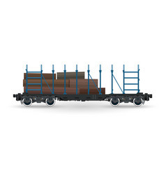 train with timber on white background vector image
