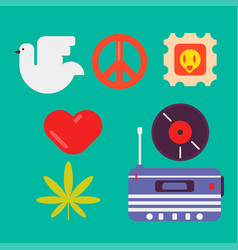 Hippie symbols of peace colorful set isolated vector