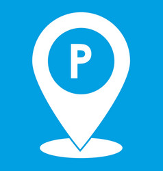 Map pointer with car parking sign icon white vector