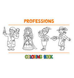 womans profession coloring book set vector image