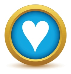 Gold heart card icon vector