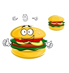 Happy tasty tempting cartoon hamburger character vector