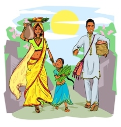 Indian family vector