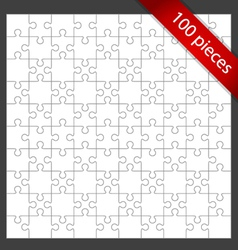 100 puzzle pieces vector