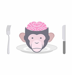 Monkey brains prohibited dish of oriental cuisines vector