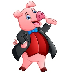 A cartoon pig in a tuxedo vector