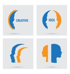 Man profile silhouette icons set isolated vector