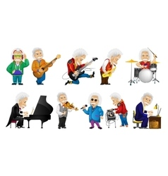 Set of old man playing music vector