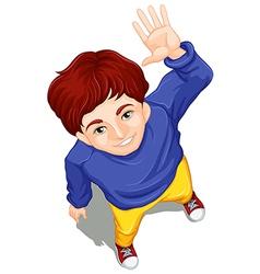 A topview of a boy waving while facing the sky vector image vector image