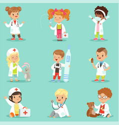 adorable kids playing doctor set smiling little vector image