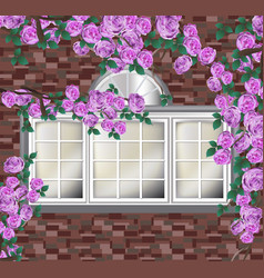 Beautiful peonies on brick wall provence style vector
