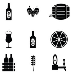 beer icon set vector image vector image