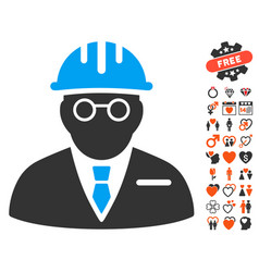 Blind engineer icon with lovely bonus vector